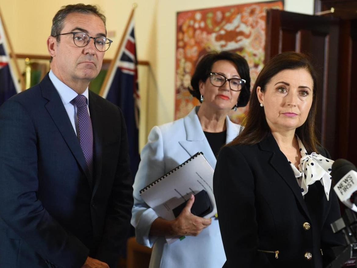 Premier Steven Marshall, Attorney-General Vickie Chapman and Minister Rachel Sanderson addressed the Rice Review on Tuesday.