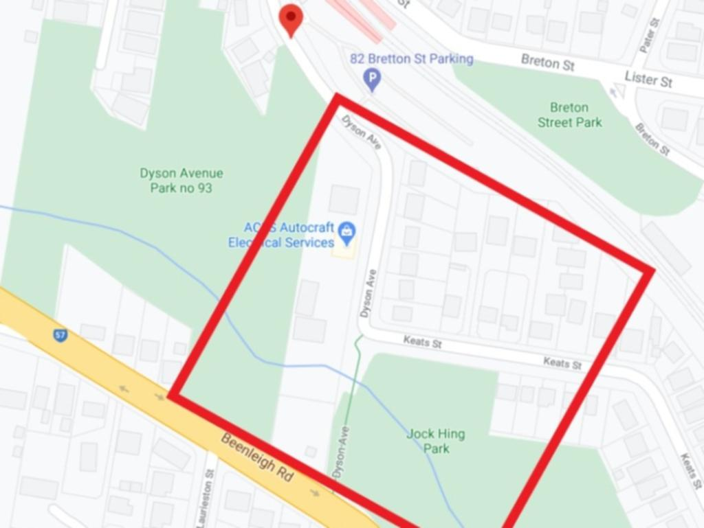The updated exclusion zone in Sunnybank, south Brisbane.