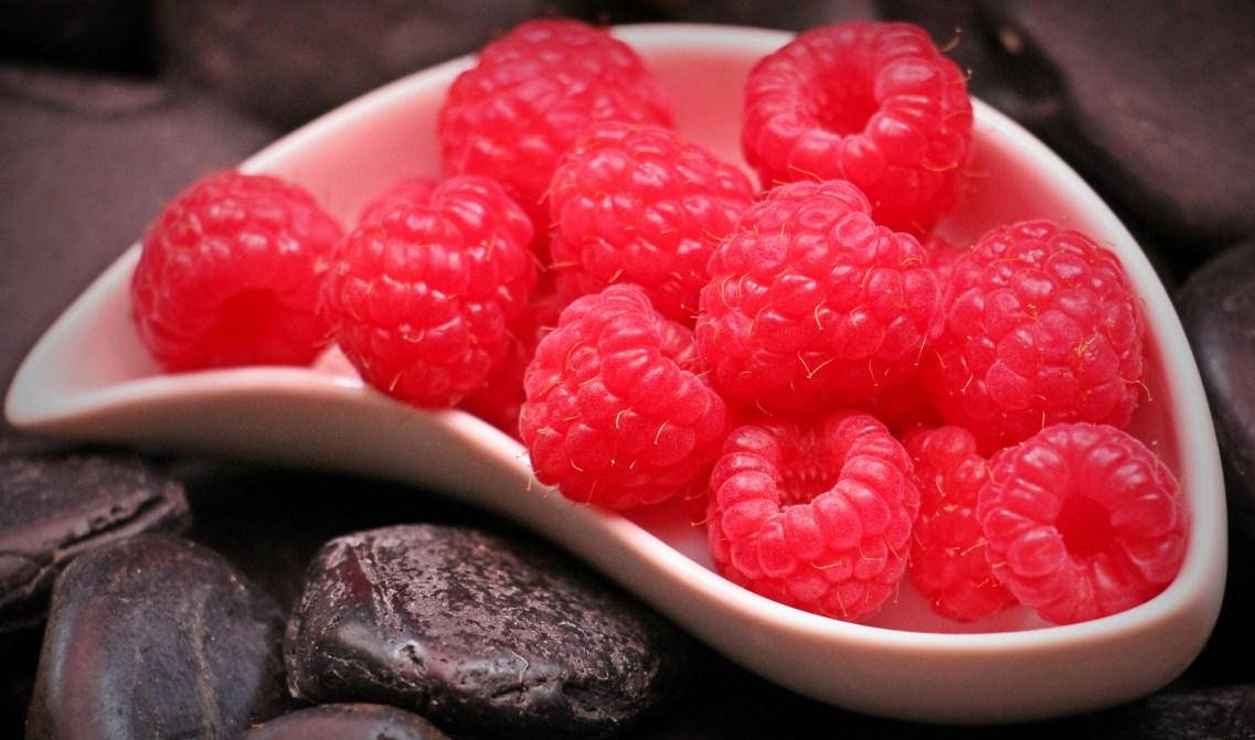 Red Raspberry Fruit on White Ceramic Tray