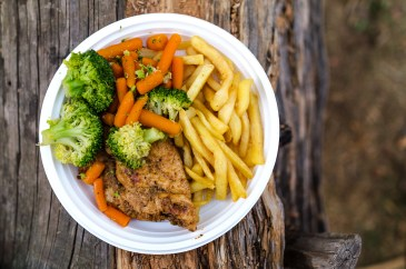 meat broccoli and fries dish