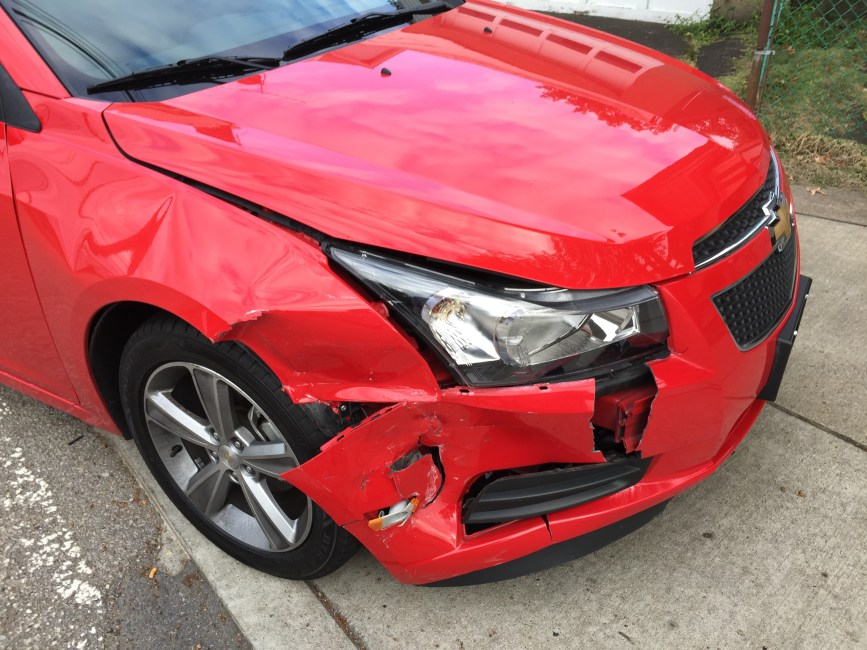 car, crash, red