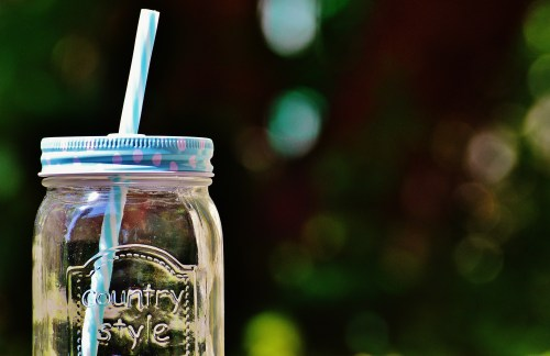 Country Style Glass Mason Jar with Reusable Straw