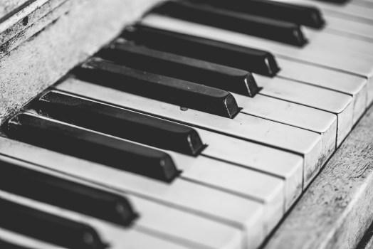 Grayscale Piano Keys Free Stock Photo