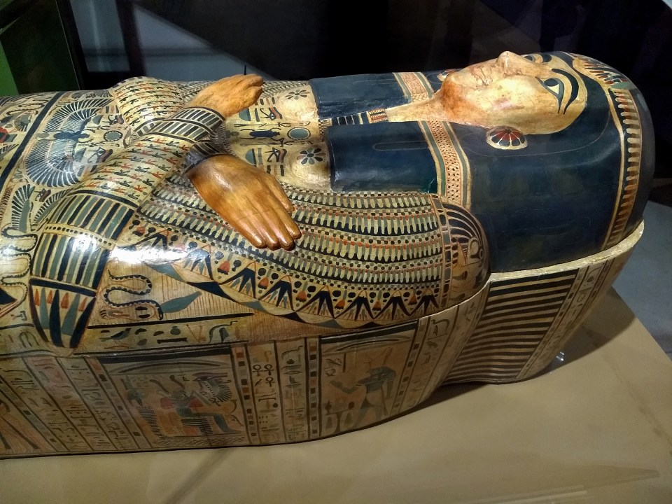Blue and Brown Egyptian Coffin