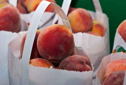 Pile of Bags of Peaches