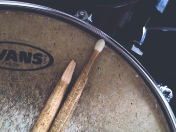 broken drumstick, close-up, dark