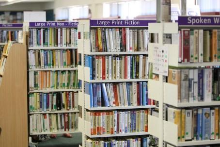 arranged, bookcase, books