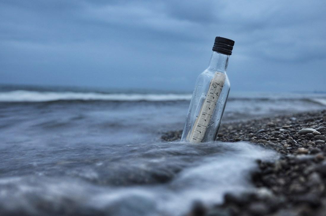 bord de mer, bouteille, ciel
