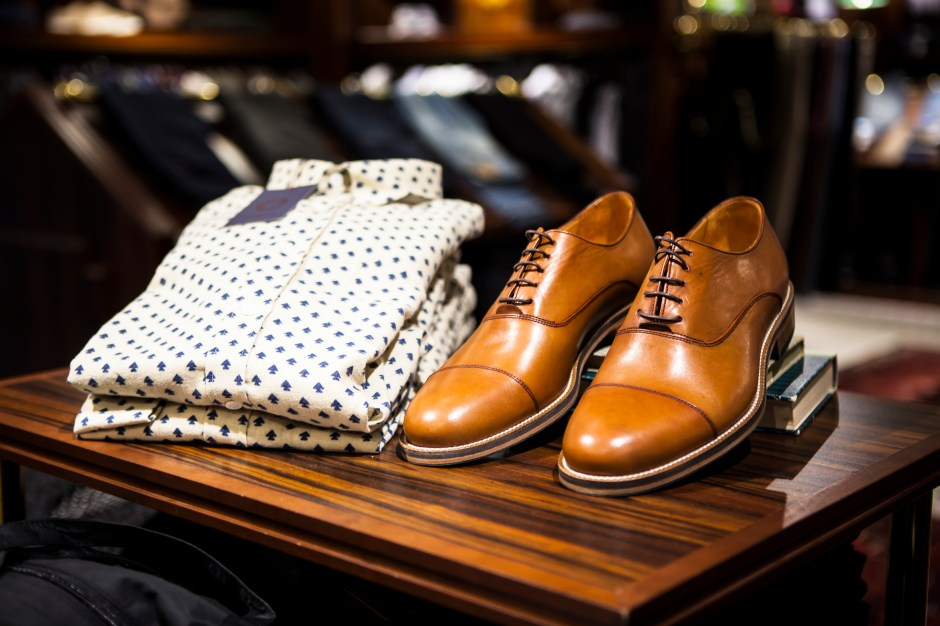 Pair of Brown Leather Casual Shoes on Table
