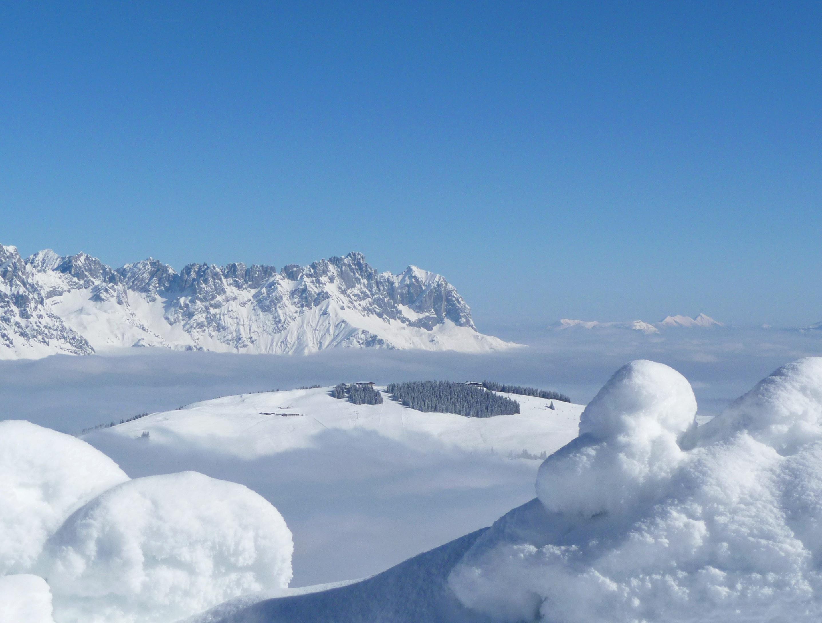 Snow Mountain Under Cloudy Sky Free Stock Photo