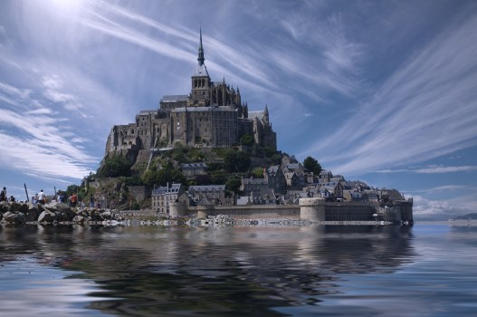 France, water, clouds, castle, sea