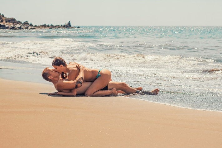 bikini, ferien, küssen