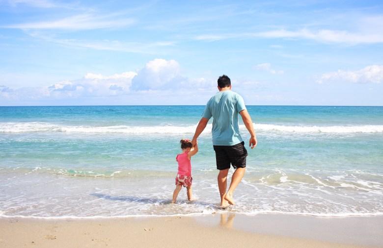 beach, coast, dad