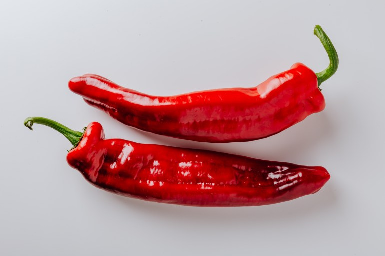 From above of pair of hot chili peppers with green sprouts and smooth surface put on white table