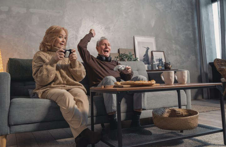 Old couple having their time of interests
