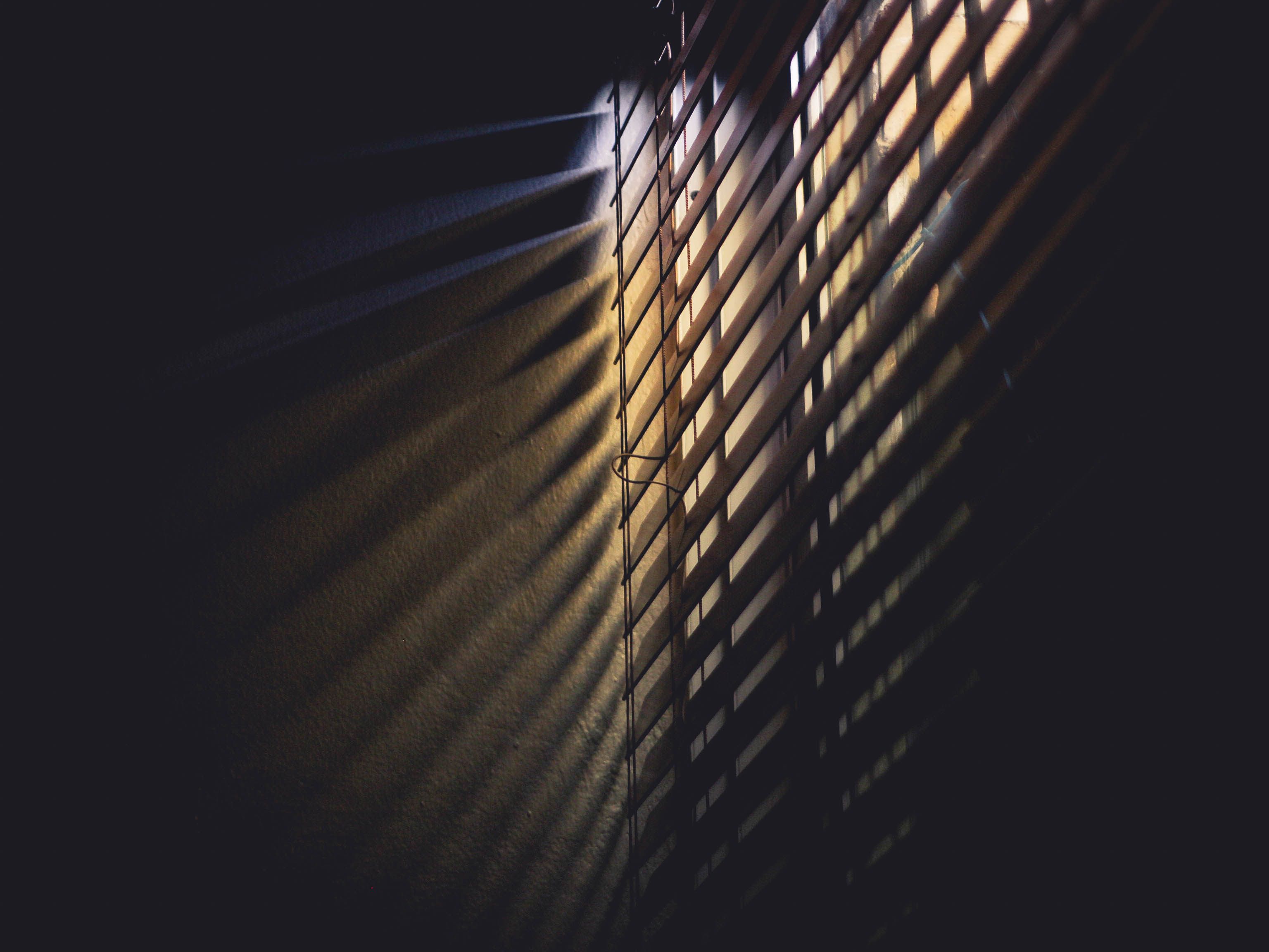 Low Light Photography Of Brown Window Blinds Free Stock