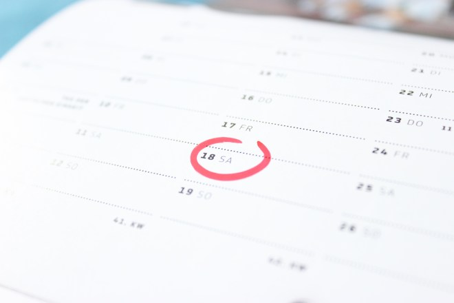 Tilt Photography of Calendar Schedule Number 18
