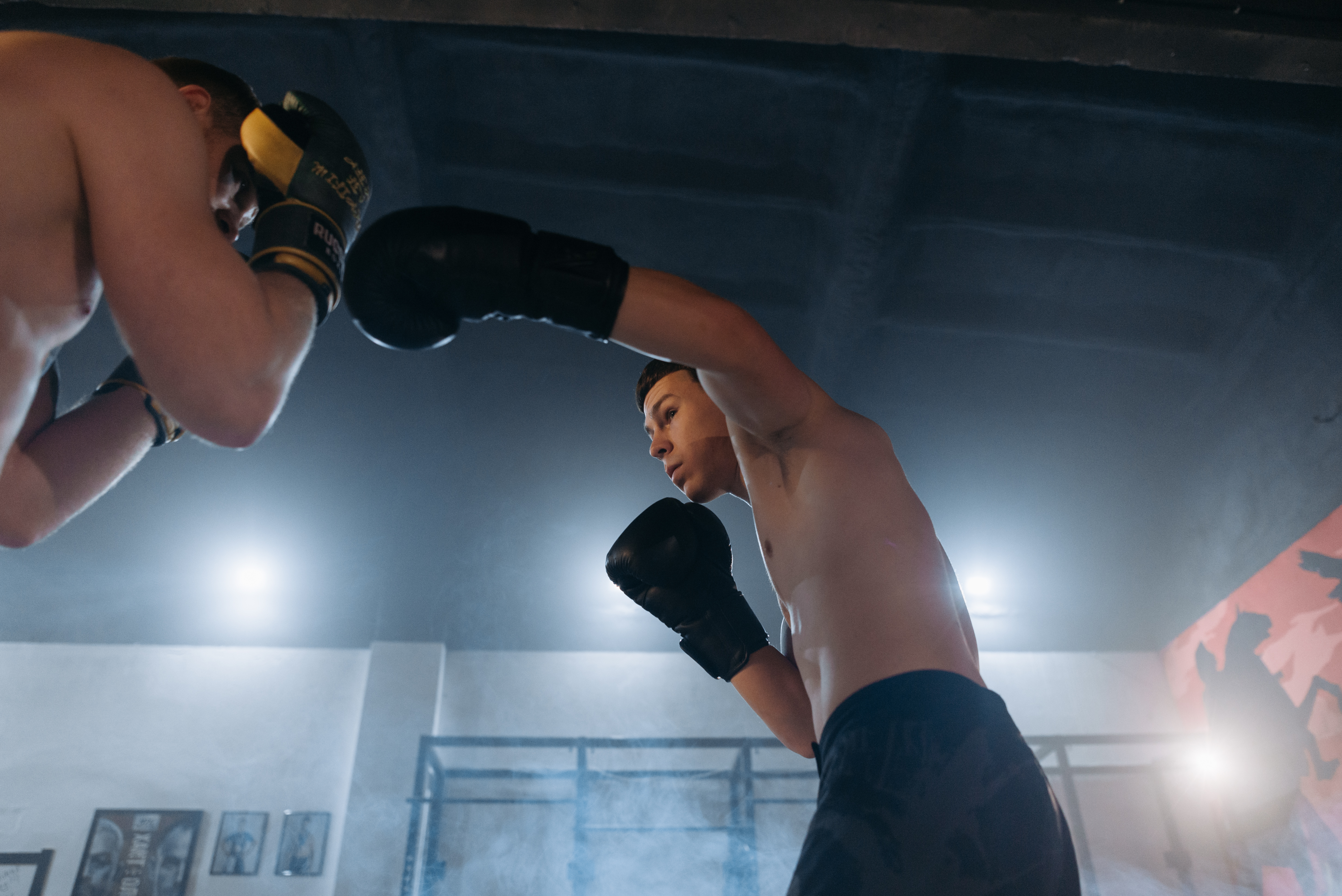 Two men boxing with each other