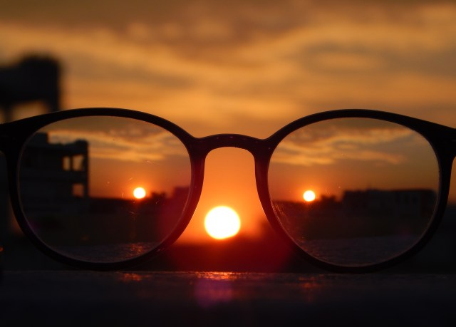 Close-up Photography of Eyeglasses at Golden Hour