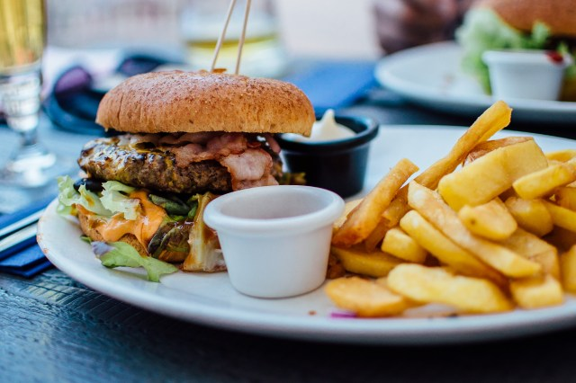 Fries and Burger on Plate