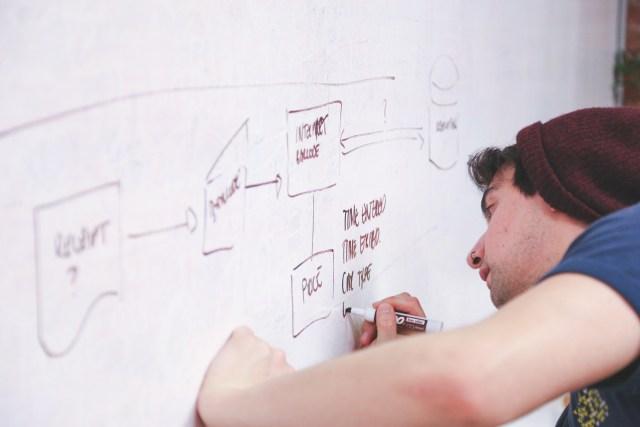 creative writes on a whiteboard in a digital marketing agency