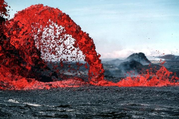 Erupting Lava during Daytime
