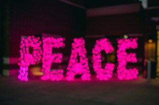 Pink Peace Light Sign