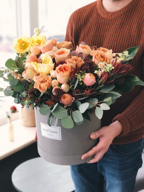 Orange Tulips in Gray Plant Pot