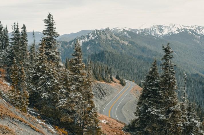 Gray Asphalt Road on Cliff