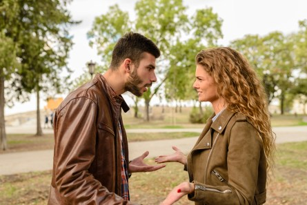 Man And Woman Wearing Brown Leather Jackets, Fight, Argue, Relationships, Annoying People