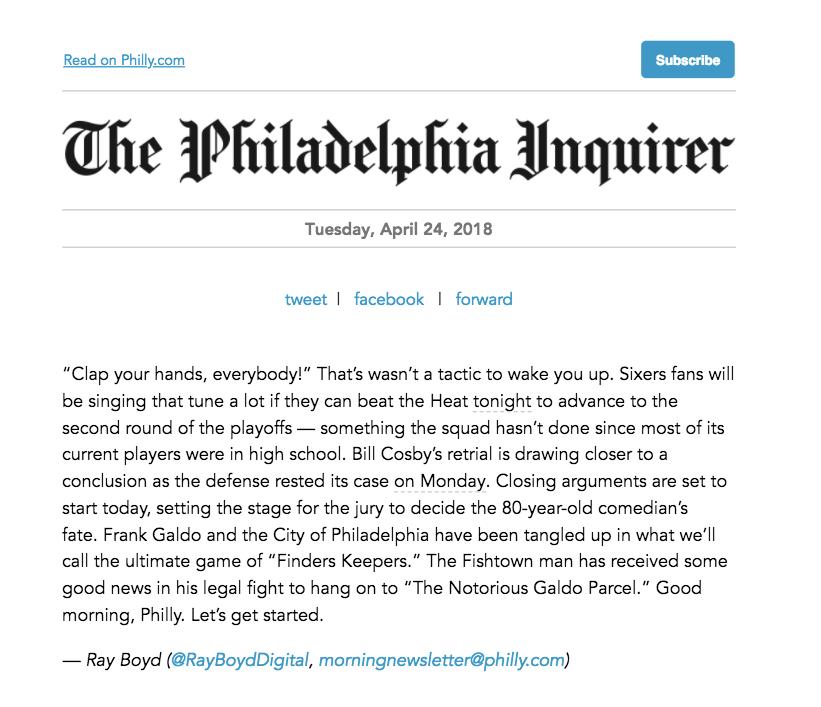 Inquirer email screenshot