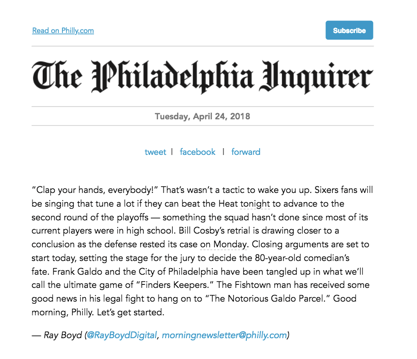 Inquirer email screenshot