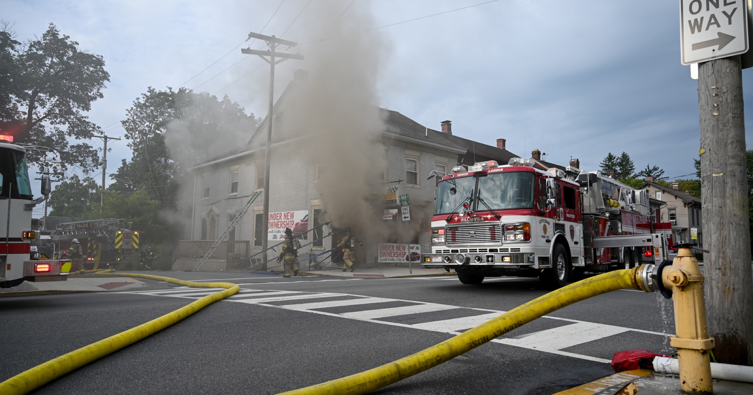 [Photos] Local fire companies turn out to fight Corvette Grille blaze