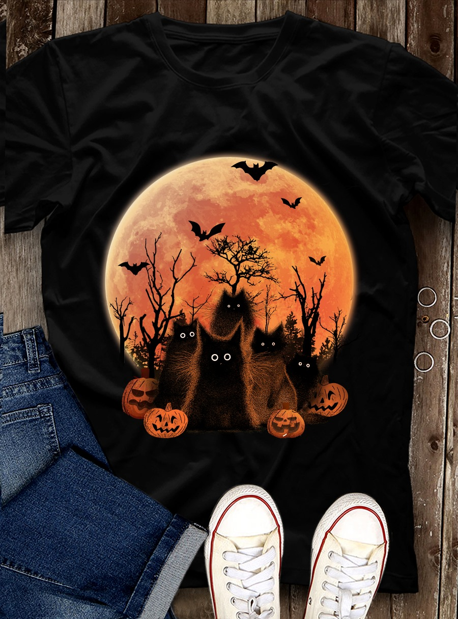 Black Cat Moon Halloween shirt 6 Picturestees Clothing - T Shirt Printing on Demand