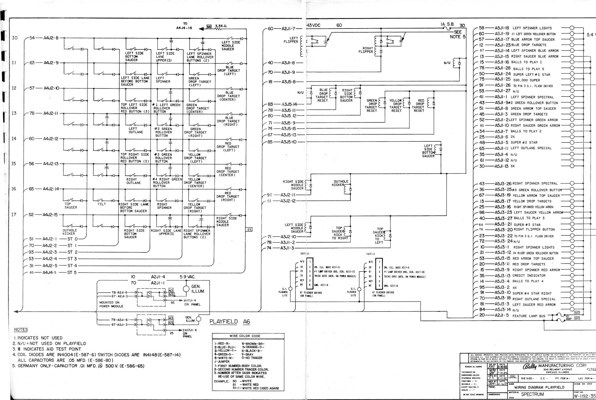 Bally Spectrum Schematics Wiring Diagram