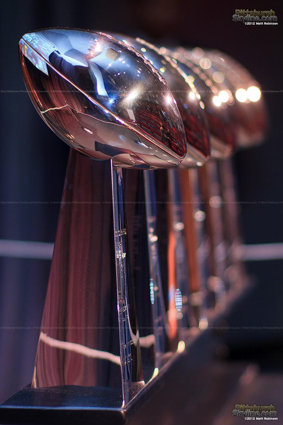 Six Steelers Superbowl Trophies