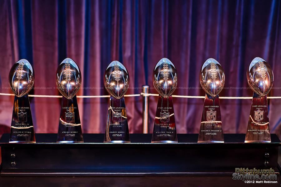 Pittsburgh Steelers Vince Lombardi Trophies on display