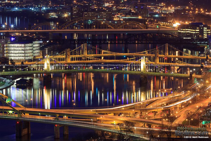 Pittsburgh Bridges at night