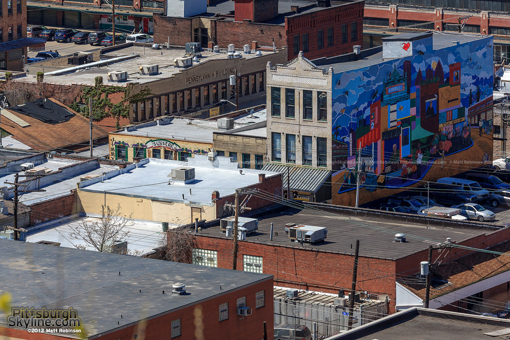 Aerial angle of the Pittsburgh's Strip District