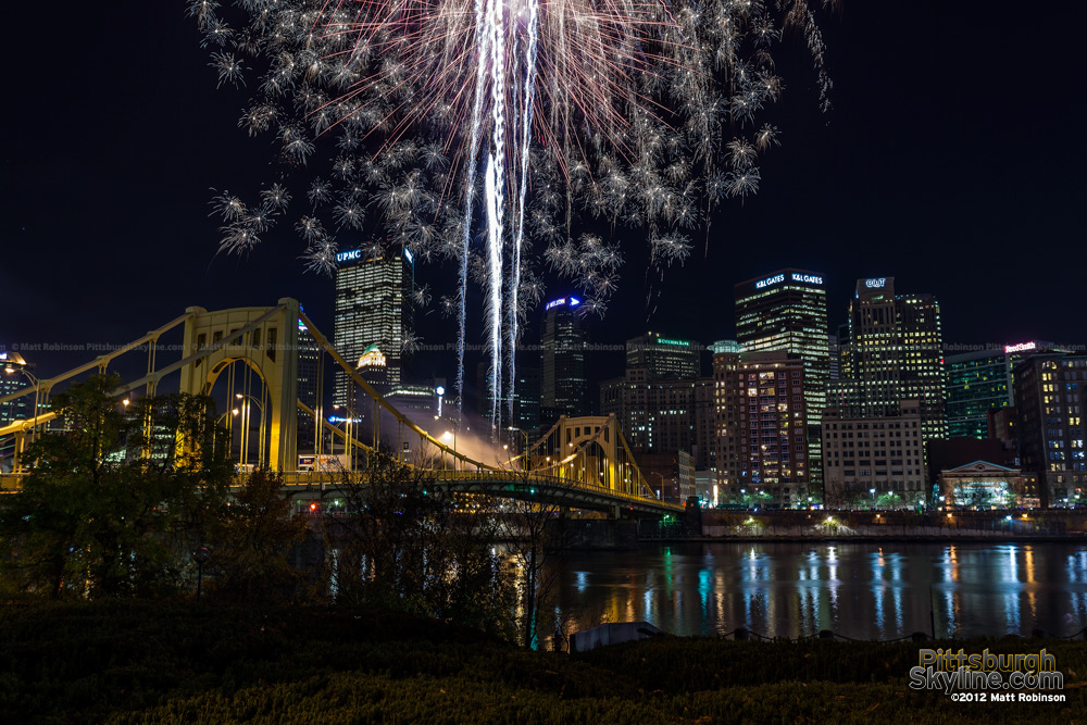 Fireworks on the Warhol Bridge Light Up Night 2012