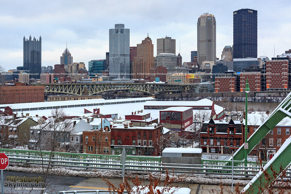 Downtown Pittsburgh with snow and PJ McArdle Bridge