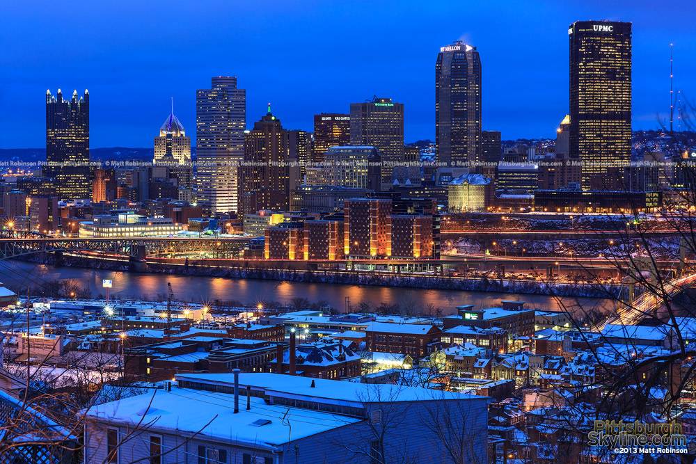 Pittsburgh Skyline with snow cover at night