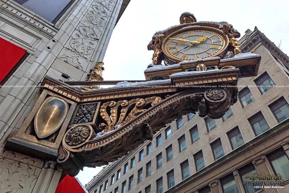 Snow covering the Kaufmann's Clock