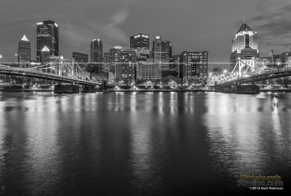 Black and White Pittsburgh Skyline from North Shore