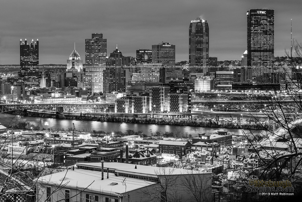 Black and White Pittsburgh Skyline with snow