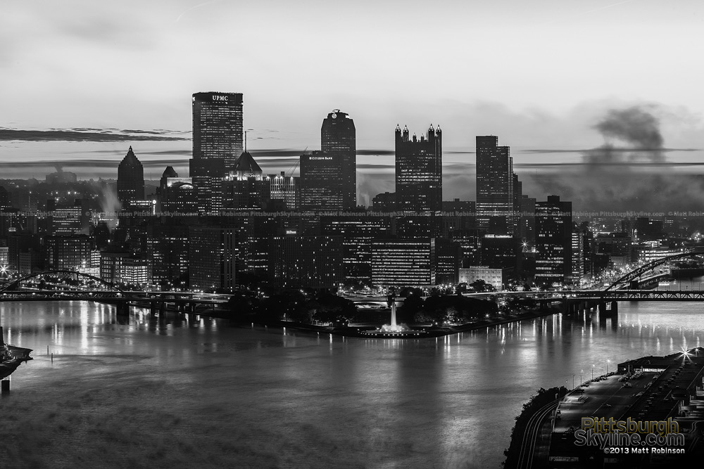 Black and White Pittsburgh from West End Overlook