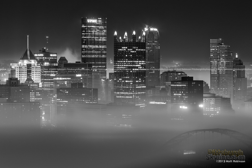 Black and White Pittsburgh in the Fog