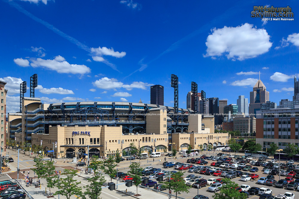 Blue sky over downtown and PNC Park