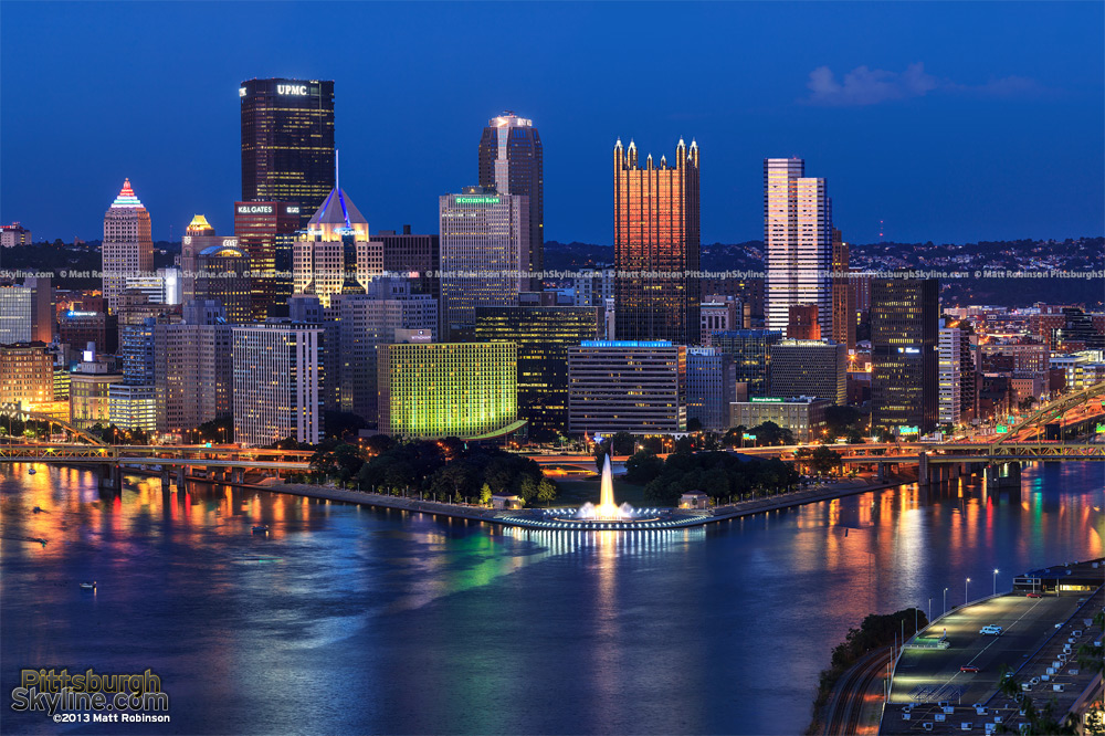 High Resolution Pittsburgh night time from the West End Overlook