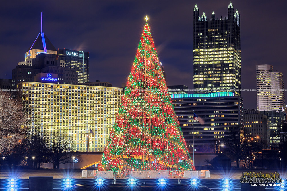 Christmas Tree at Point State Park with Pittsburgh Skyline at night